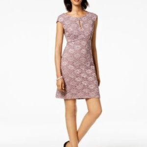 Connected Sheath Dress Embellished Lace Rosewood